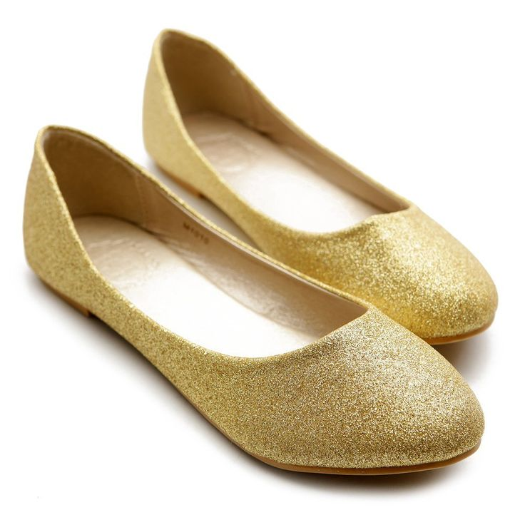 gold flats for women | Gold Party Shoes For Women-Flats, Pumps