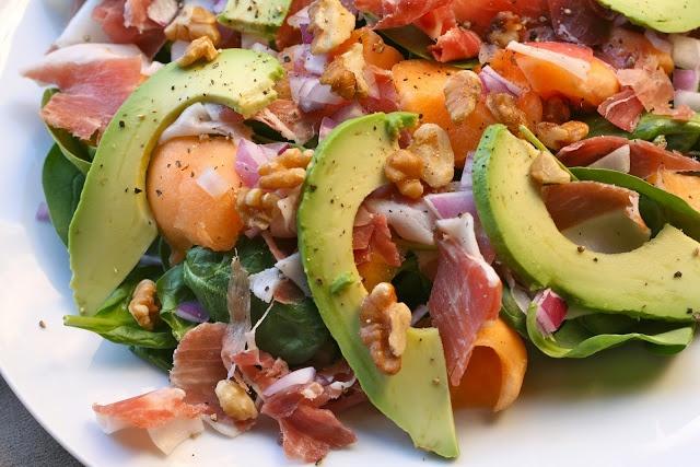 Avocado, Melon, Proscuitto Spinach Salad | Swedish Chef Style | Pinte ...