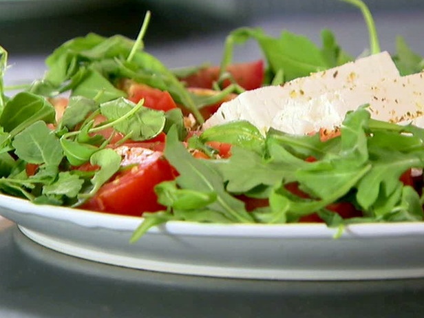 summer: oregano, feta, tomato and arugula salad