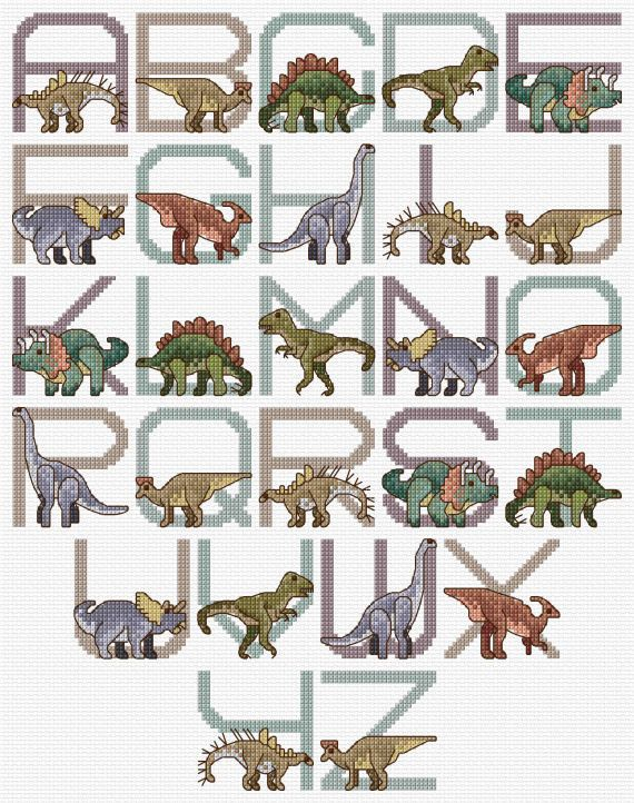 Dinosaur Alphabet Sampler Cross Stitch Chart PDF by clairecrompton