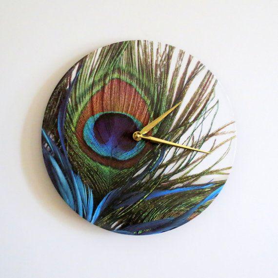 Peacock wall clock peacock feather decor and housewares home decor - Peacock feather decorations home decor ...