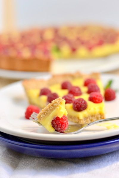 Raspberry Honey Lemon Curd Tart with Whole Wheat Cookie Crust | Recipe