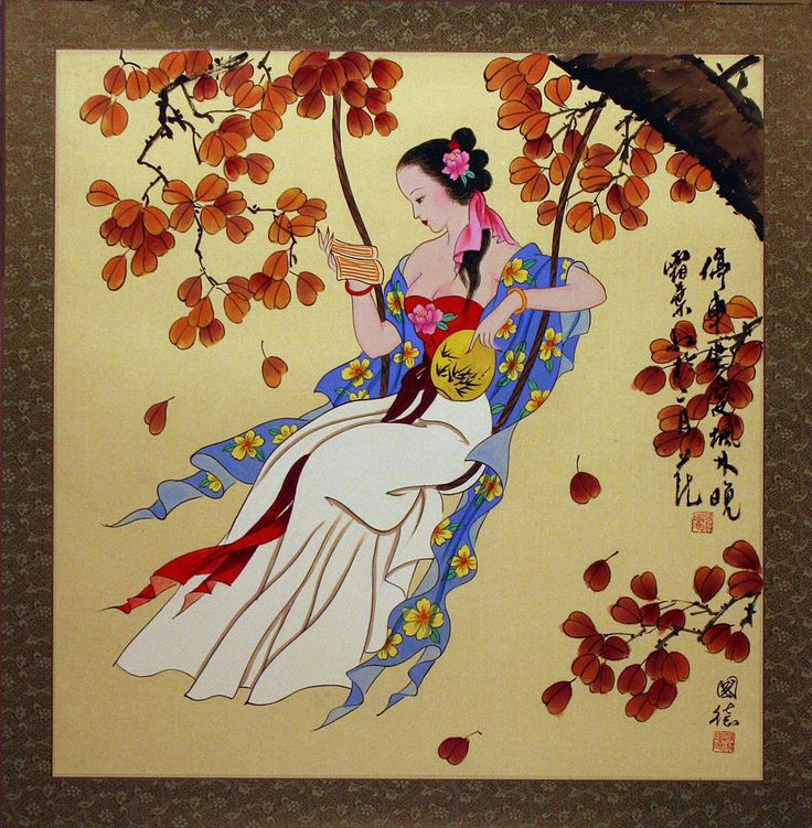 Traditional chinese painting woman