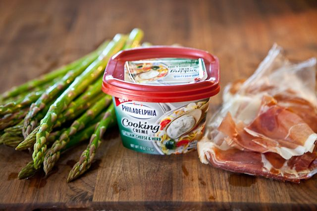 ... like this: prosciutto wrapped asparagus , prosciutto and asparagus