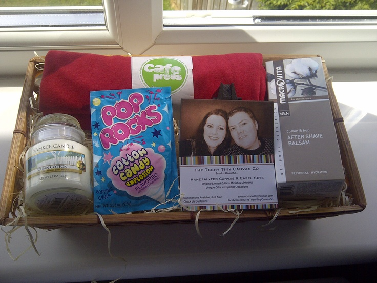 my cotton themed gift basket for the husband! A Clean Cotton scente...
