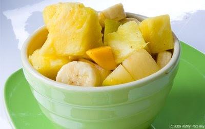 salad uses mangoes, bananas, fresh-cut pineapple chunks, Meyer lemon ...