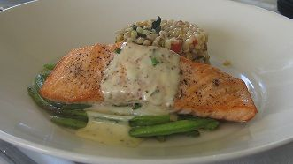 Baked salmon with dill mustard sauce | seafood | Pinterest