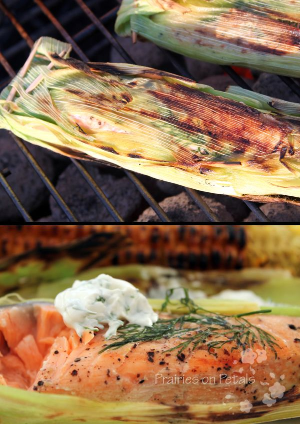 Grilled salmon in corn husks Ingredients: - fresh salmon, sliced ...