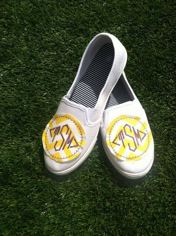 embroidered monogram canvas shoes womens sizes custom chevron
