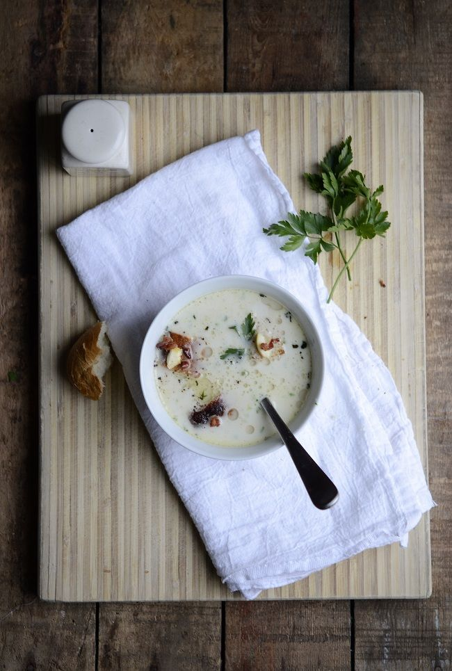Parsley Root & Chestnut Soup with Bacon Relish and Crisp Croutons