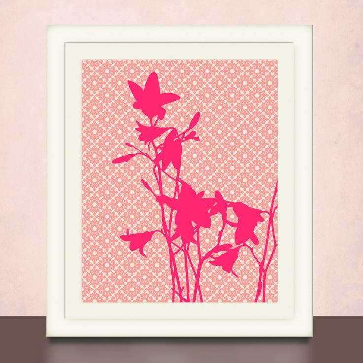 Modern flower silhouettes wall art prints baby girl 39 s - Modern nursery wall decor ...