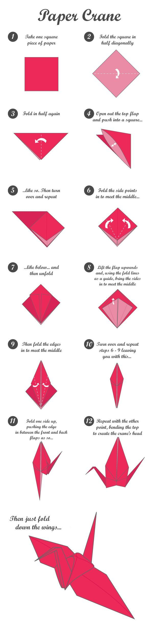 paper crane tutorial crafts pinterest