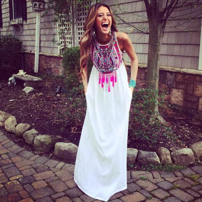 Shop Now: Mara Hoffman - Mirror Embroidered Maxi Dress