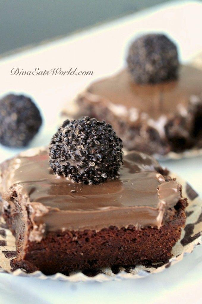 Chocolate Fudge Brownies w/ Nutella Frosting & a hazelnut truffle on ...