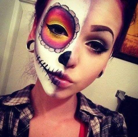 Sick skull half face makeup | Halloween | Pinterest Half Skeleton Face Painting