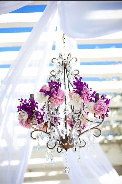 floral chandelier - love dark purple & pale pink!