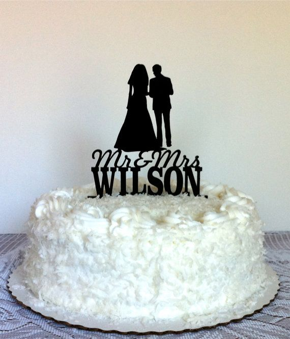 Mr And Mrs Silhouette Wedding Cake Topper With Personalized Family Na