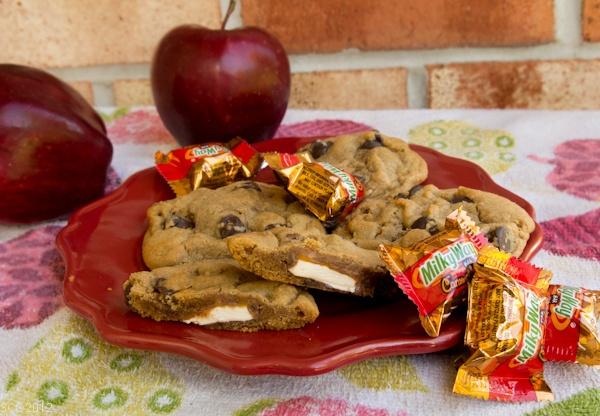 Caramel Apple Milky Way Stuffed Chocolate Chip Cookies