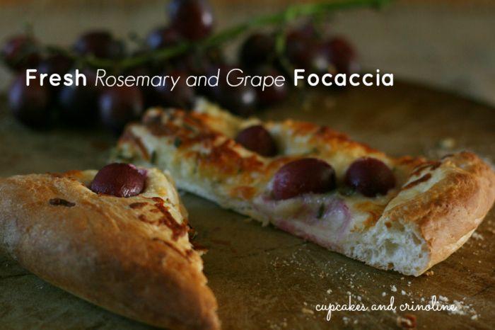 Fresh Rosemary and Grape Focaccia from cupcakesandcrinoline.com