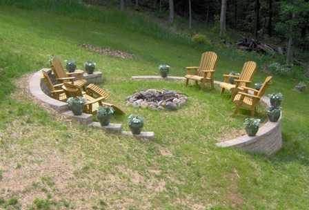 sloped yard bonfire pit garden landscape pinterest