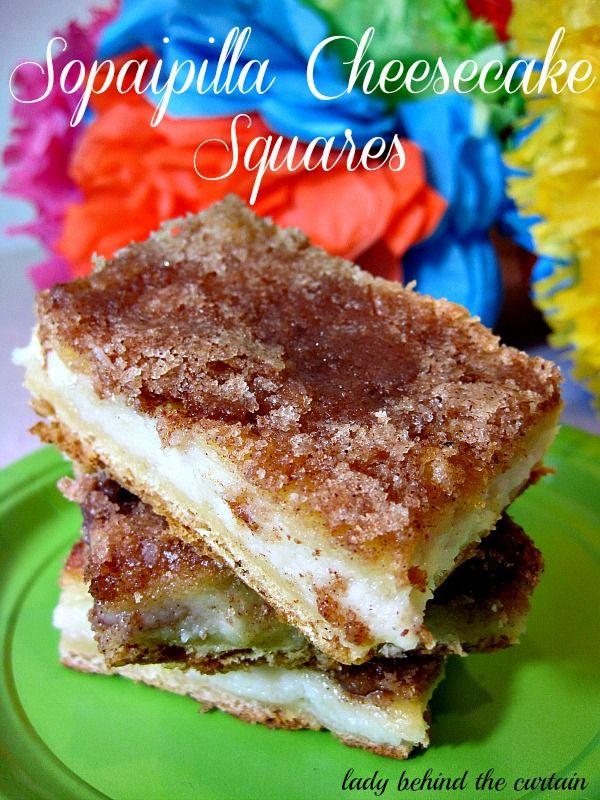 Sopaipilla Churro Cheesecake Squares | bars,& brownies | Pinterest