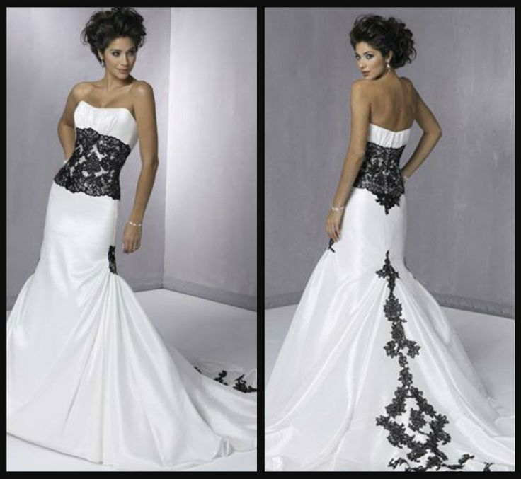 Beautiful Black White Wedding Dress Saying I Do Pinterest