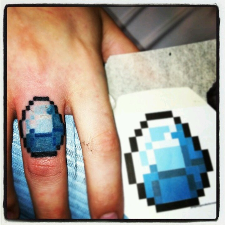 Minecraft Tattoo!! Diamond Ring! - 127.3KB