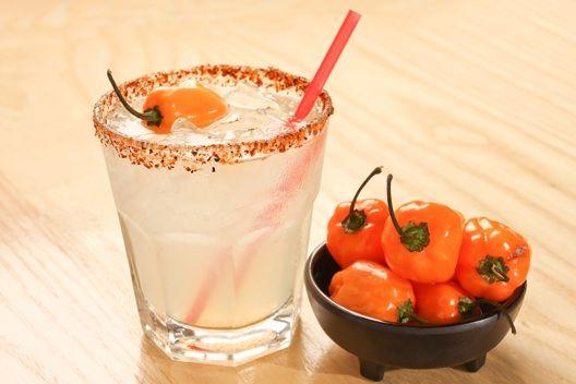 Habanero Simple Syrup (to make habanero margaritas...)