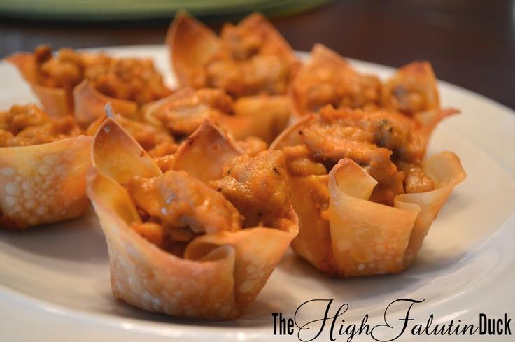 Buffalo Chicken Sausage Wonton cups | Yummy | Pinterest