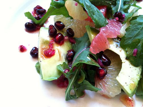 Avocado, grapefruit, pomegranate and arugula salad