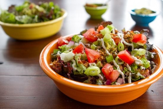Layered Raw Taco Salad for Two...aka: vitamin in a bowl! Plus a delicious strawberries 'n cream recipe to enjoy with oatmeal, smoothies, banana soft serve, and more.