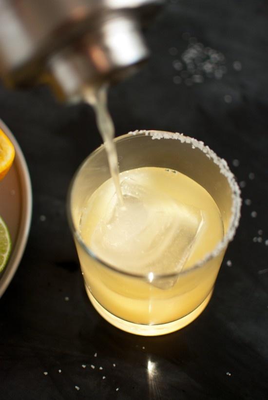 fresh margaritas - kosher salt, tequila, lime, orange, agave