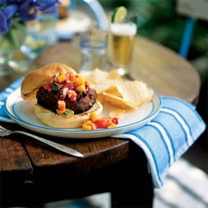 Jamaican Jerk Turkey Burgers with Papaya-Mango Salsa | Recipe