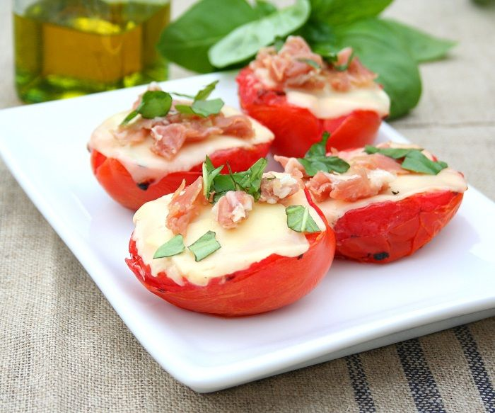 Grilled Tomatoes with Cheese, Prosciutto and Basil | Recipe