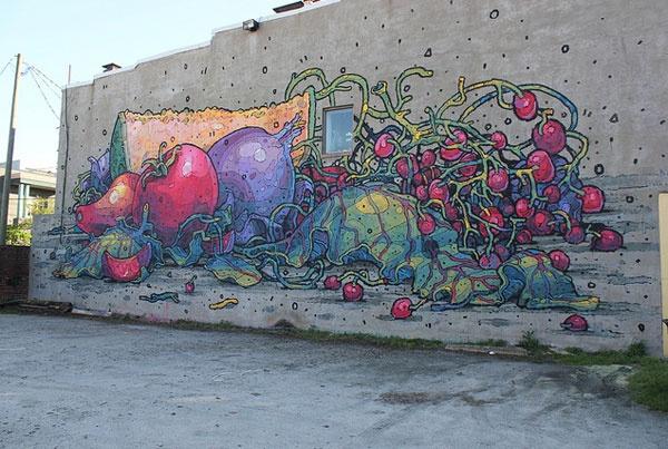 ARYZ Fruits and Veggies mural –more (getting up) images @ http://www.juxtapoz.com/Street-Art/aryz-in-richmond-va –ARYZ, Street Art, Public Art, Mural, Richmond, Virginia