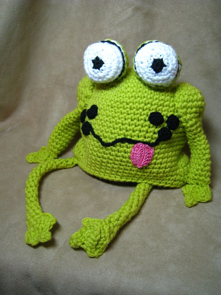 Free Crochet Pattern For Kermit The Frog Hat : CROCHET PATTERN - frog hat, crochet baby pattern,children ...