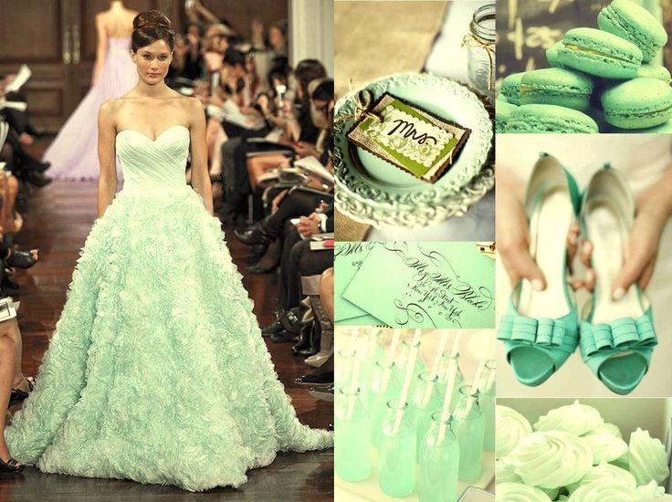 Vestidos de novia blanco con verde menta