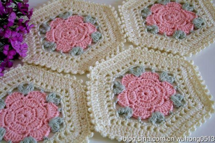 Free Crochet Granny Square Motifs : Octagon FLOWER ~ free graph Crochet Granny Squares ...