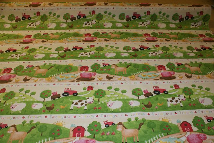 Farm animals fabric bright children 39 s baby fabric for Bright childrens fabric