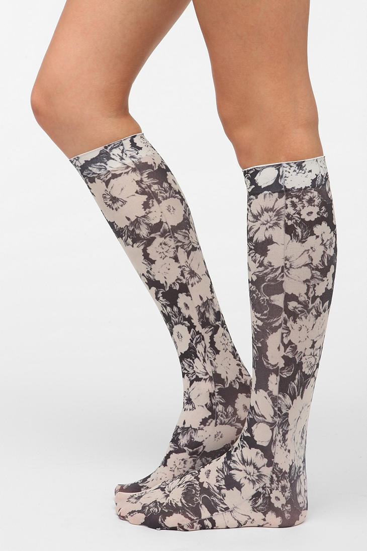 Opaque Floral Knee-High Sock - $14 at Urban Outfitters. I think these socks would look so cute paired with some black or grey combat boots!