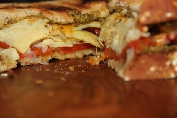Artichoke, roasted red pepper, pesto grilled cheese.