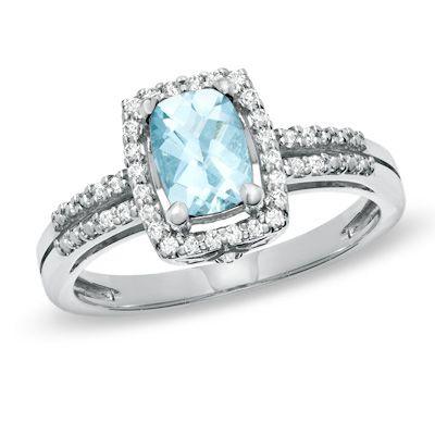 Aquamarine Rings Zales Aquamarine Diamond Ring