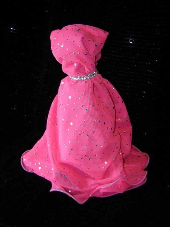 Fabric Wine Bottle Covers | handmade dress wine bottle cover with pink and sequined fabric with ...