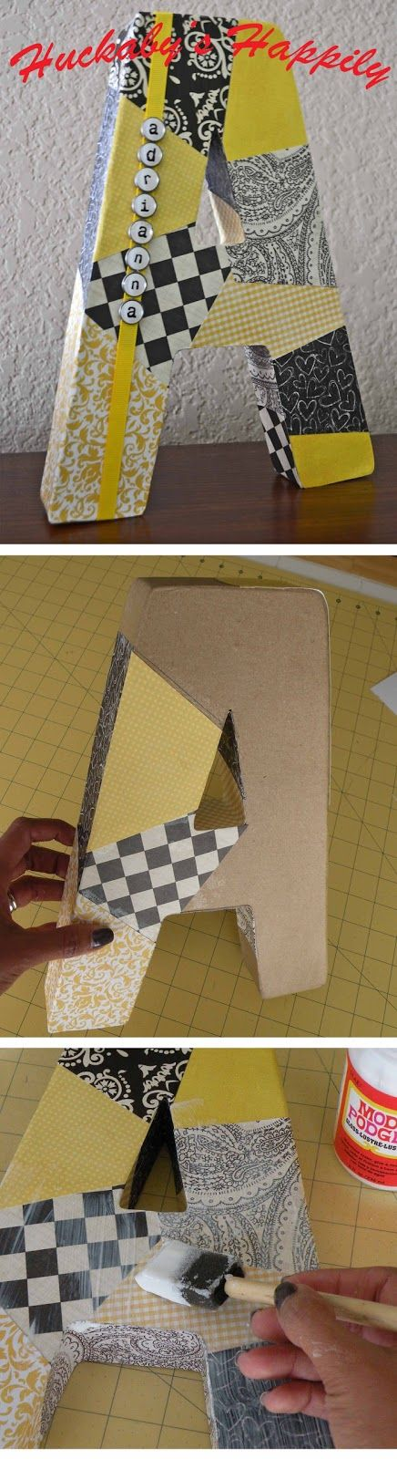 covering chipboard letters with scrapbook paper