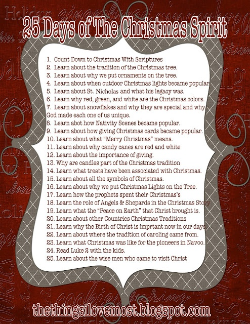 25 Days of Christmas ~ daily activities to keep the reason ...