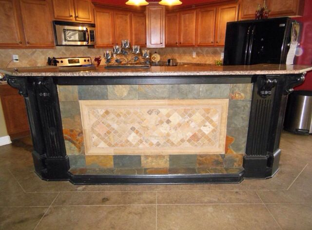 Love the stone work on the kitchen island bar | Kitchen/