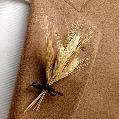 wheat boutonniere - photo: in style weddings