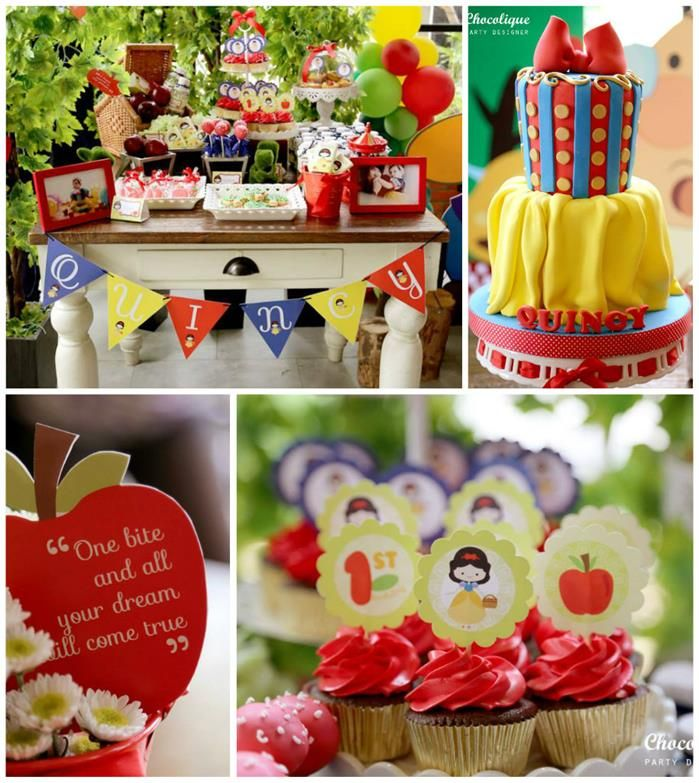 Snow White Themed 1st Birthday Party with Lots of Cute Ideas via Kara's Party Ideas KarasPartyIdeas.com #SnowWhiteParty #Party #Ideas