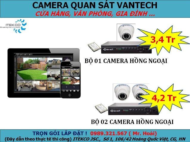 Bộ sản phẩm trọn gói giá rẻ của VANTECH 1-2 camera - dành cho cửa hàng bán lẻ, văn phòng, gia đình... - Xem trực tiếp qua Internet - Chức năng lưu hình trong 07 ngày, dễ dàng xem lại. Bao gồm:  - 1-2 camera hồng ngoại VANTECH - 1 đầu ghi hình 4 kênh VANTECH - 1 ổ cứng Seagate Sata Xem thêm các bộ sản phẩm khác http://cameraquansat.tv/vi/bo-san-pham-tron-goi