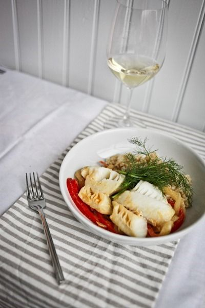 Curry Poached Cod with Fennel and Red Pepper from Kath Eats Real Food